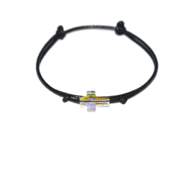 Čierny šnúrkový náramok ATÀLE s kryštáľovým krížikom Swarovski