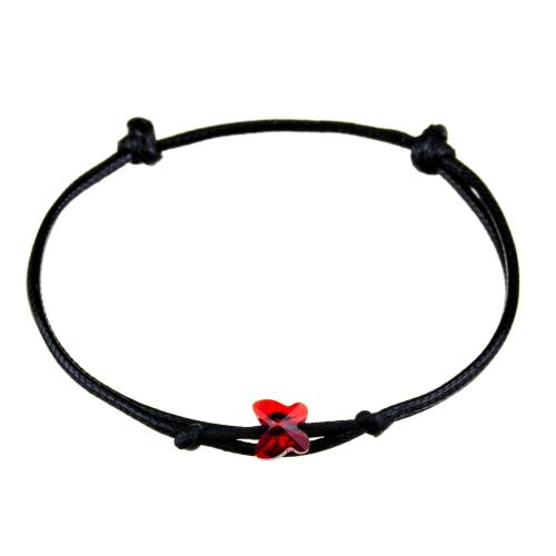 Čierny náramok červený motýlik